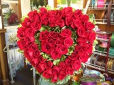 Double Heart Red Rose Easel Arrangement