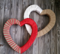 Double Heart Ribbon Wreath Covered Foam Wreath