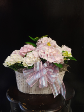 Double Hydrangea Spring Basket Pink