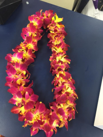 Double Orchid Lei- Red & Yellow Graduation