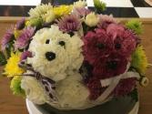 Double Puppy Love Basket Arrangement