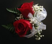 Double Red Rose Pin-On Corsage