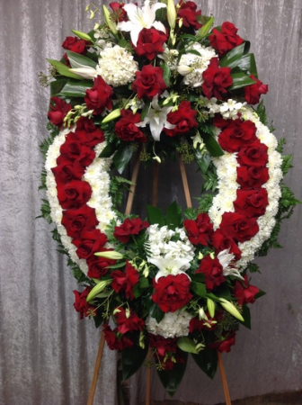 DOUBLE RED/WHT CIRCLE OF LIFE WREATH STANDING WREATH FOR A SERVICE/MEMORIAL