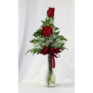 Double Rose Budvase Valentines Day
