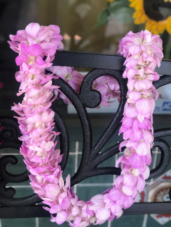 Double Strand Light Pink Orchid Lei Graduation