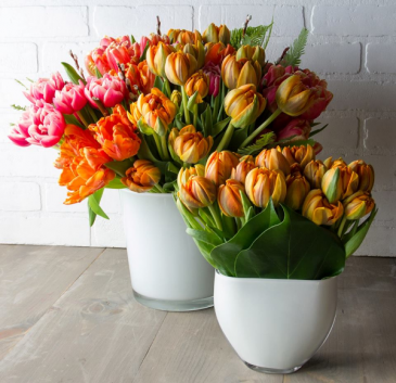 Double Tulips in a vase  Please let us know your Color preference