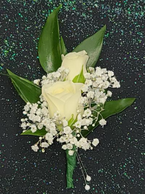 Double White Mini Rose Boutonniere FHF-701 ****Pick Up Only****