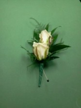 Double white spray rose boutonniere