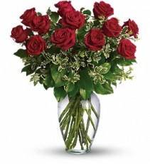 DOZ RED ROSES Vase Arrangement
