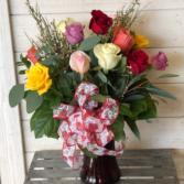 Dozen Assorted Color Roses Vase Arrangement