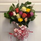 Dozen Assorted Color Roses Wrapped Bouquet