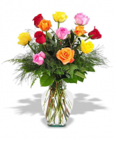 Dozen Assorted Roses Flower Arrangement
