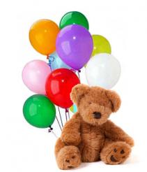 Dozen Balloons & Teddy Bear