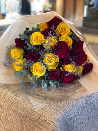 DOZEN BURGUNDY/YELLOW ROSES  WRAPPED BOUQUET