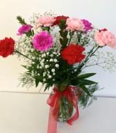 Dozen Carnations Floral Arrangement