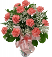 Dozen Carnations Vase Arrangement