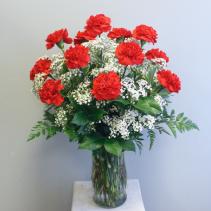 Dozen Carnations Vase Arrangement (Specify Carnation Color in Special Instructions)