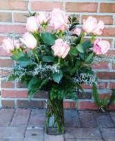 Dozen Color Roses Vase