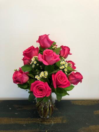 Dozen Hot Pink Roses Vase Arrangement