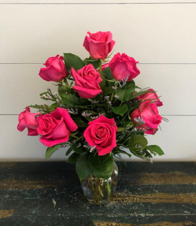 Dozen Hot Pink Roses Vase Arrangement