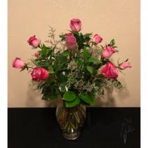 Dozen Lavender Rose Arrangement