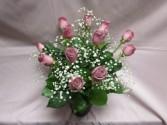 Dozen Lavender Roses in Lavender Vase, $84.95