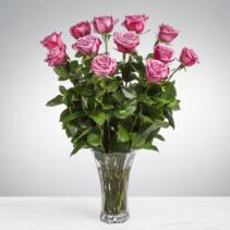 Dozen Lavender Roses Vase