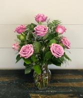 Dozen Lavender Roses Vase Arrangement