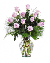 Dozen Light Purple Roses Flower Arrangement