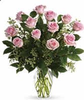 Dozen long stem pink roses