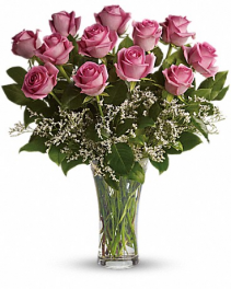 Dozen Long Stem Pink Roses Fresh Rose Arrangement