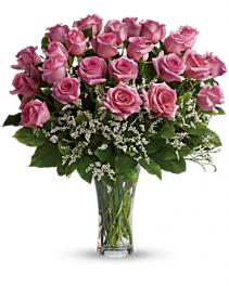 TWO Dozen Long Stem Pink Roses Vase