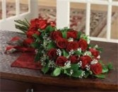 G 4-Dozen long stem red rose presentation bouquet