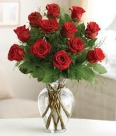 R 2- One Dozen long stem red roses in a vase Also available in other colors