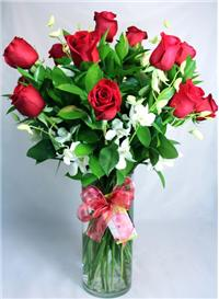Dozen Long Stem Red Roses with Orchids  in Las Vegas, NV | FLOWERS OF THE FIELD