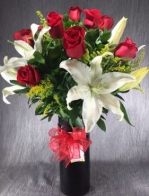Dozen Long Stem Red Roses with White Lilies