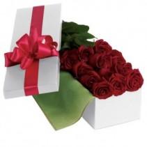Dozen Long Stem Roses In A Gift Box Red