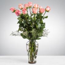 Dozen Long Stemmed Pink Roses Vase