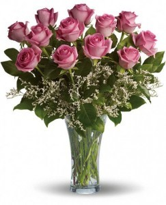 Dozen Long Stemmed Pink Roses