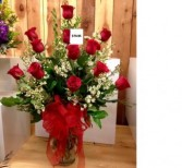 Any color dozen roses arranged in a vase Dozen Long Stemmed Imported Roses