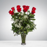 Dozen Long Stemmed Red Roses with Baby's Breath Vase