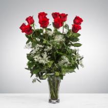 Dozen Long Stemmed Red Roses with Baby's Breath Vase