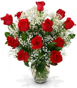 Dozen Long Stemmed Roses in Large Vase Dz Long Red Roses w/ Baby's Breath in Ventura, CA | Mom And Pop Flower Shop