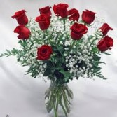 Dozen LS Red Roses in Vase