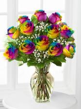 Dozen Medium Stem Tye Dye Roses Arranged
