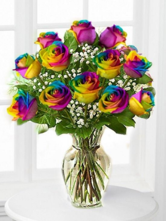 Dozen Medium Stem Tye Dye Roses Arranged