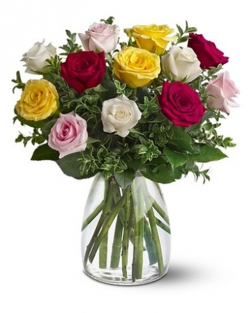 Dozen Mixed Color Roses Floral Arrangement