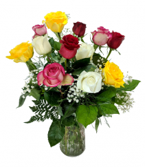 Dozen Mixed Colored Roses Flower Arrangement