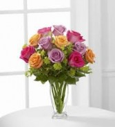 R 5-One Dozen mixed colored roses in a vase (Mid stem $50, Long stem $75)