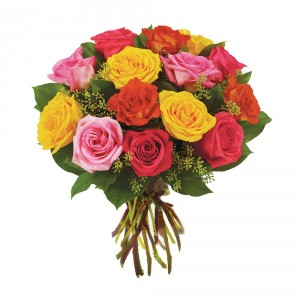 Dozen Mixed Colored Roses Wrapped Bouquet